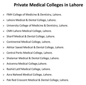 private medical colleges in lahore