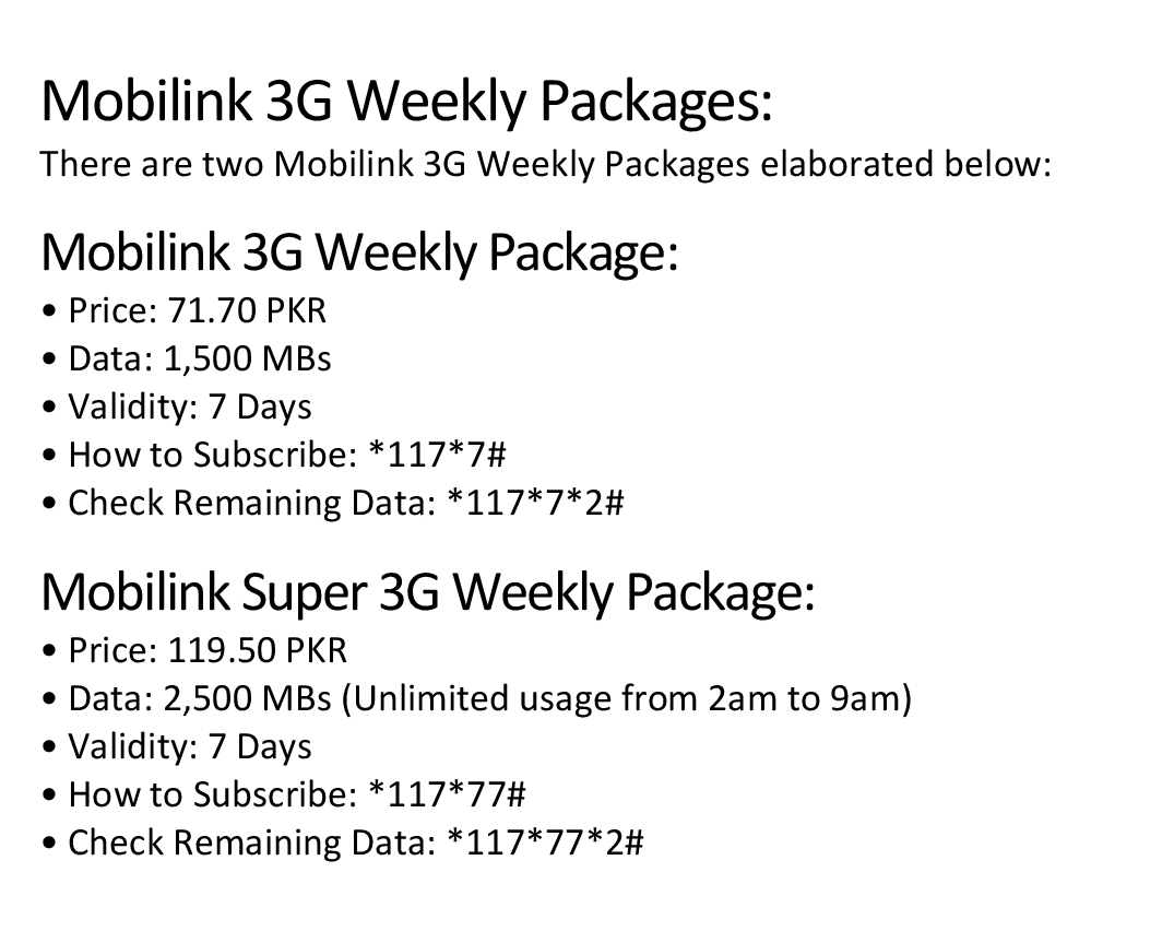 jazz weekly 3g package